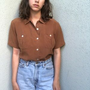 [vintage] pure silk rust brown short sleeve shirt